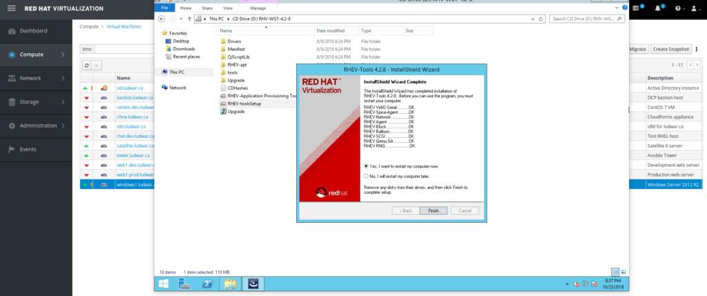 RHV guest agent tools install